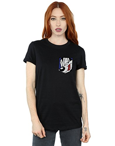 Pew Fit Pocket Looney Tunes Face Pepe Le Novio Camiseta Mujer Faux Negro Del xxIqfOP