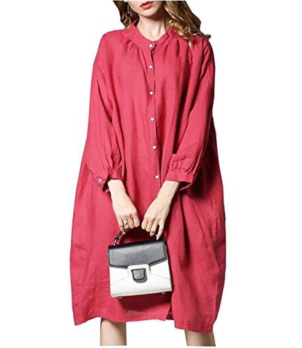 Red CHLXI Manches Coton Longues Chemise Femmes en Pour tPqw0Pr