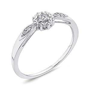 Diamond Promise Ring in 10K White Gold (1/10 cttw, Colour GH, Clarity I2-I3) (Size-12)