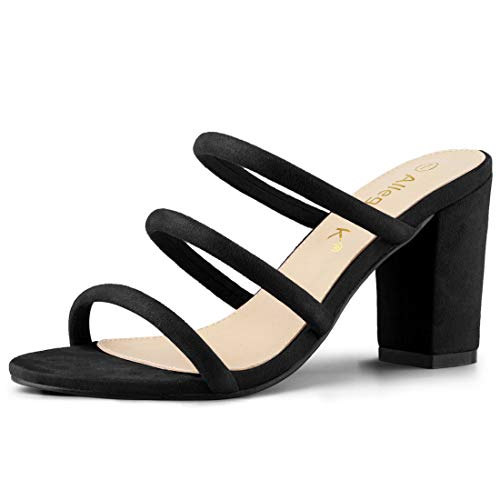Allegra K Women's Open Toe Block Heel Slides Black Mules Sandals - 6 M US