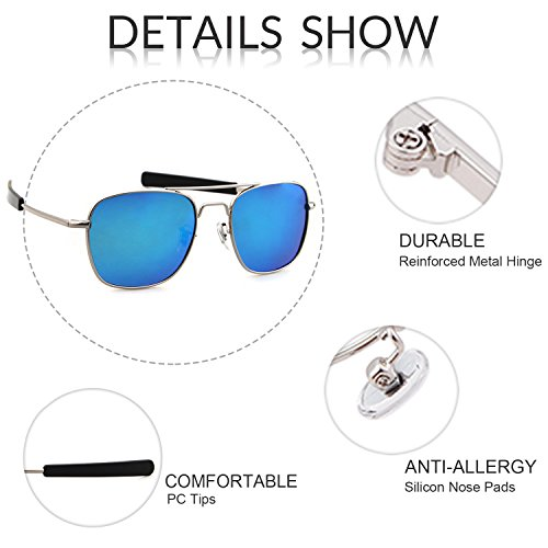 Men Polarized UV400 Outdoor Sunglasses 100 Sports Lens for Goggles ADEWU Silver Blue Protection Frame 61nzBwt6x
