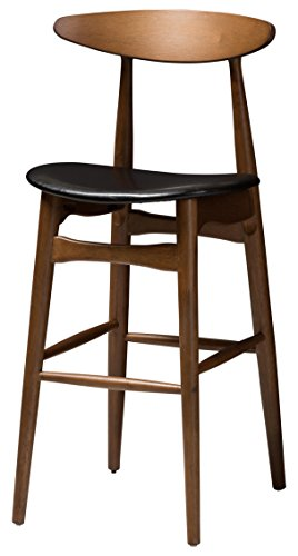 (Baxton Studio 144-424-8074-AMZ Floretta Bar Stool, Black/Walnut Brown)