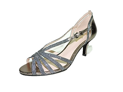 Pelle Moda Women Charli Pewter Sparkle Leather Sandals 3'' heels 9 M US by Pelle Moda