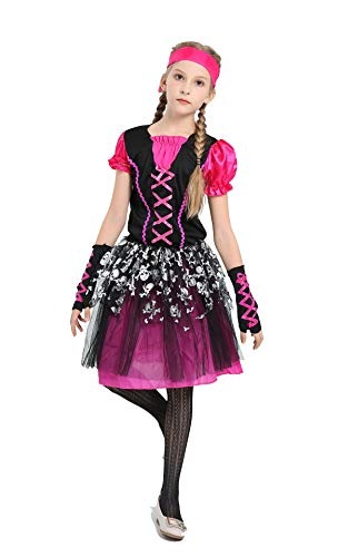 (Pirates Halloween Costume Parth Girl Pirate Cosplay Dress Short Sleeve Skeleton Pattern Skirt with Headband Gloves (M))