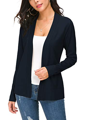 Women's Knit Cardigan Open Front Sweater Coat Long Sleeve (XL, Navy Blue) ()