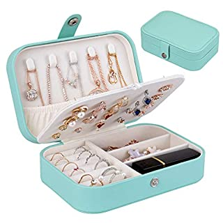 homchen Travel Jewelry Organiser Cases, Jewelry Storage Box for Necklace, Earrings, Rings, Bracelet (Box-Light Blue)