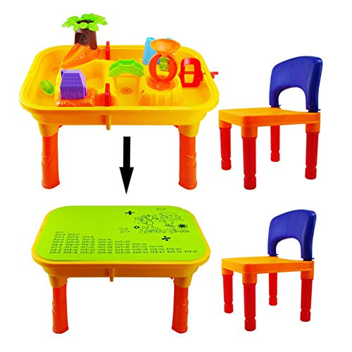 ALXDR Beach Toy Set Table with Lid and Chair for Kids, Sandbox Toys Water Sand Toys- 15Pcs Kit
