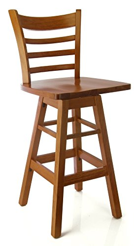 Beechwood Mountain BSD-5BSWW-C Solid Beech Wood Swivel Bar Stool in Cherry with wood seat for Kitchen and (Beech Stool)