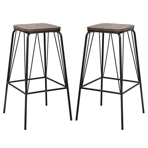 Bar Stool Black Hillsdale Furniture (VIVA HOME Metal Chair Counter Dining Barstool with Elm Seat Pan, Set of 2, Black)