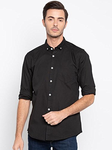 344748854cca Nick Jess Mens Solid Black Semi Formal Cum Casual Cotton Slim Fit Shirt   Amazon.in  Clothing   Accessories