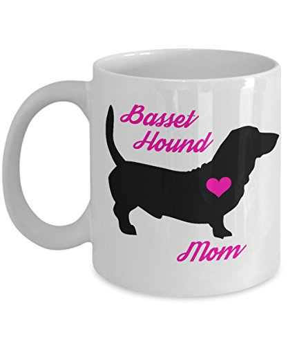 Basset Hound Mug - Basset Hound Mom - Cute Novelty Coffee Cup For Dog Lovers - Perfect Mother's Day Gift For Women Pet Owners (11 oz, White)
