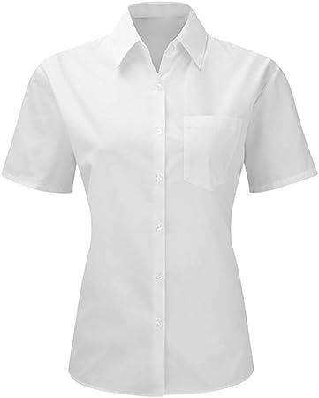 My Custom Style Camisa de Mujer de Negocios Blanca de Manga Corta. Talla M: Amazon.es: Hogar