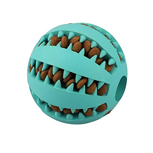 QINUKER Toy Ball for Dogs, Strong Tooth Dog Toy Balls for Pet Chewing Playing, IQ Treat Soft Rubber Ball Size 2.8