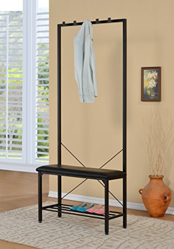 Black Bonded Leather Entryway Shoe Bench with Coat Garment Rack Hall Tree Rack Storage Organizer 5 Hooks in Black Metal Finish - Color: Black Material: Bonded Leather (seat) and Metal (frame) Features 5 hooks for hanging hats, jackets, scarves, umbrella, etc. - hall-trees, entryway-furniture-decor, entryway-laundry-room - 414psN5ETRL -