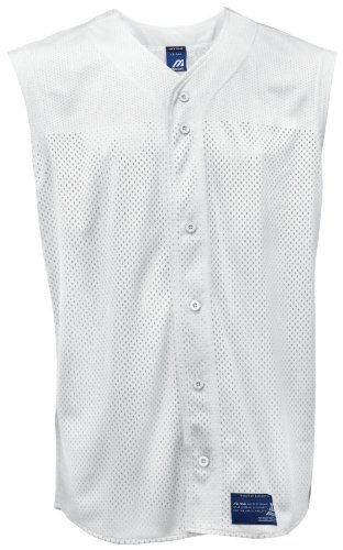 Mizuno Mesh Jersey (Mizuno Men's Full Button Mesh Sleeveless Baseball Jersey, White, Medium)