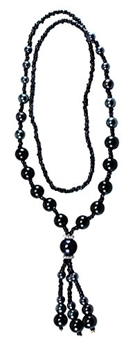 BDJ Black Synthetic Pearl Tassel Dangling Pendant Strand Necklace 26