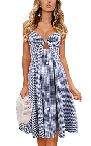 Blue Check Dress - ECOWISH Womens Dresses Summer Tie Front V-Neck Spaghetti Strap Button Down A-Line Backless Swing Midi Dress 1603 Blue Plaid M