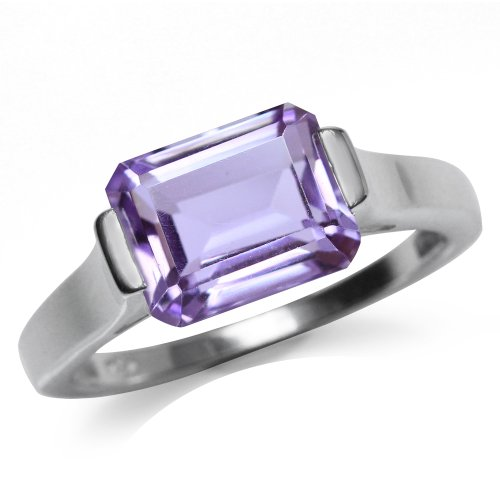 3.22ct. Natural Amethyst 925 Sterling Silver Solitaire Ring Size 7