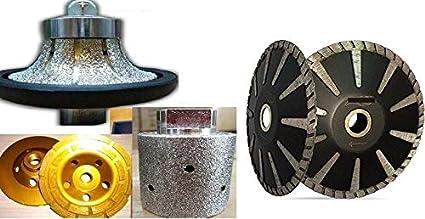 """3/"""" Wet Polishing Drum 5 Pcs metal drum 5/"""" Convex Blade Cup Wheel Granite Sink"""