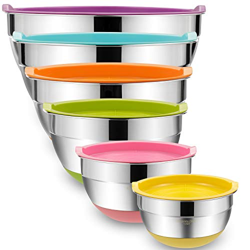 Mixing Bowls with Airtight Lids, 6 piece Stainless Steel Metal Bowls by Umite Chef, Measurement Marks & Colorful Non-Slip Bottoms Size 7, 3.5, 2.5, 2.0,1.5, 1QT, Great for Mixing & Serving ()