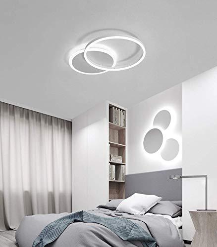 LED Lámpara de techo Forma de Anillo creativa Luz de techo Pantalla de aluminio acrílico moderna y elegante, blanca mate…