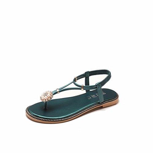 XIAOGEGE Flachen weiblichen PERLE FLOWER Sandalen mit flachen Sandalen Die grüne