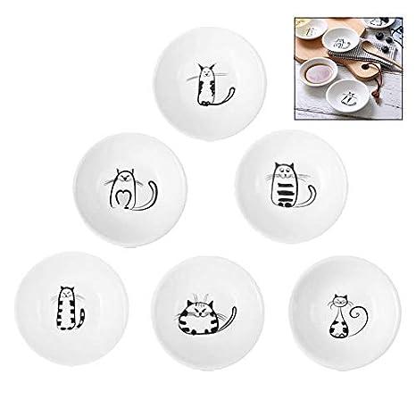 iwobi 6 pezzi Piatto in Salsa di Ceramica,Porcelain Piccolo PiattinoSalsa di Soia Immersione Salsa per Gatti,Bianco
