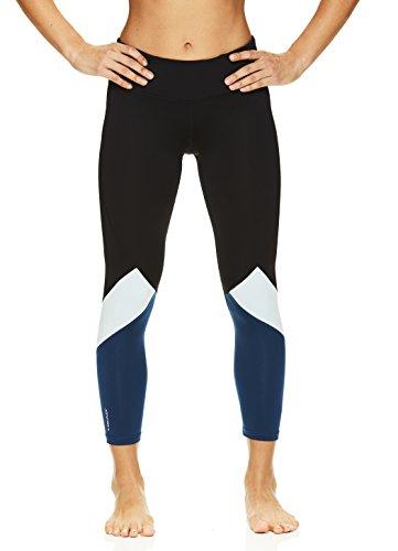 (HEAD Women's Rejuvenated Pop Crop Capri Leggings - Performance Activewear Yoga & Running Pants - Black/Sailor Blue, Medium)