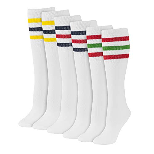 Women's Striped Tube Socks Over the Calf High Size 9-11