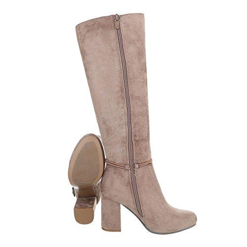 High Heel Stiefel Damenschuhe Klassischer Pump Heels Reißverschluss Ital-Design Hellbraun