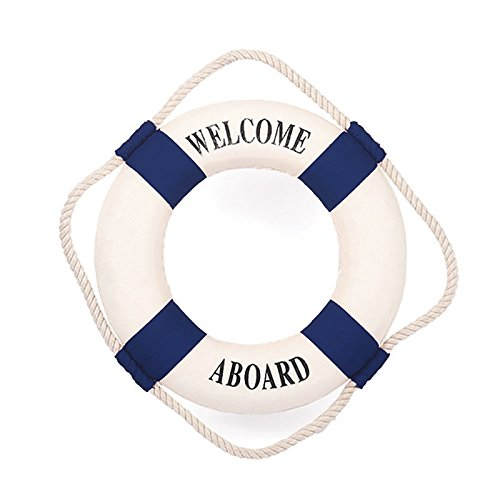 Homecube Blue White Huge Welcome Aboard Cloth Life Ring 18