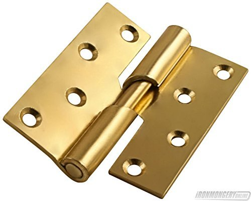 100mm Left Hand Rising Butt Hinges - Electro Brass by Perry Hinges
