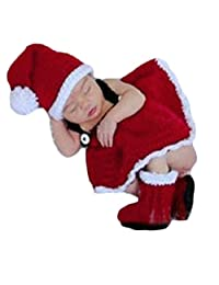 Baby Photography Props Newborn Crochet Costume Christmas Clothes Hat Dress Boots
