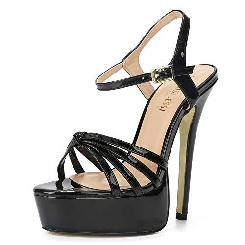 MAIERNISI JESSI Unisex Men's Women's Flatform Stiletto High Heel Strapy Slingback Sandals Black EU 43 - Size 10.5 M US Women / 9.5 M US Men