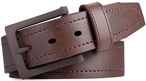 Aves Coffee - Marino Avenue Men's Genuine Leather Belt, Classic Jean Style, 1.5