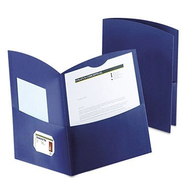 Contour Two-Pocket Recycled Paper Folder, 100-Sheet Capacity, Dark Blue, Sold as 1 Box