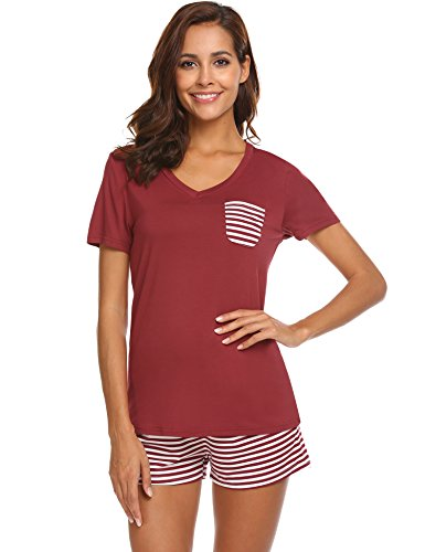 aa3bfb6394 Hotouch Womens Pajama Set Striped Short Sleeve Sleepwear Pjs Sets at Amazon  Women s Clothing store