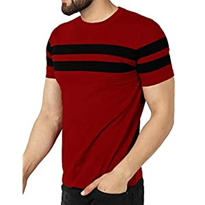 Leotude Men's Regular Fit Maroon Color T-Shirt