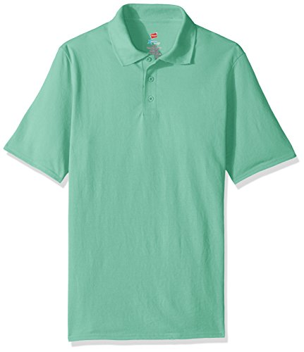 Hanes Men's Short Sleeve X-Temp W/FreshIQ Polo, Clean Mint, Large (Fresh Green Apparel)