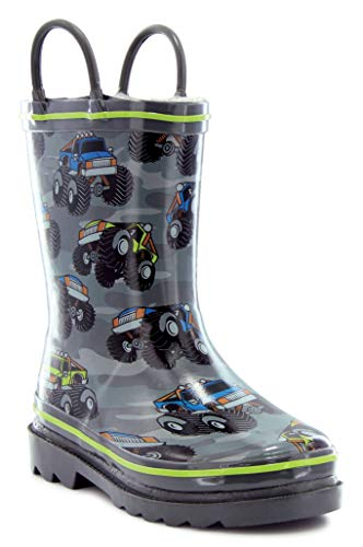 Western Chief Boys Waterproof Printed Rain Boot with Easy Pull On Handles, Monster Crusher, 8 M US Toddler]()