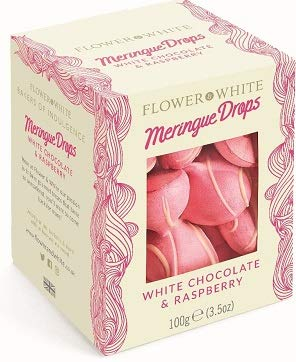 Flower & White Meringue Drops White Chocolate & Raspberry 100g x 2 Expires May 2020 Delivers 3-5 Days USA by Flower & White