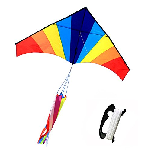 Price comparison product image Tresbro Kite For Kids & Adults, 70 Inches Huge Rainbow Big Kite,  Best Toys For Outdoor Games Activities,  Good Plan For Memorable Summer Fun