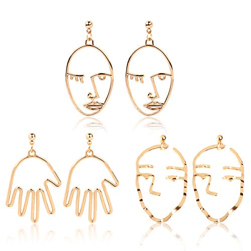 Picasso Earrings (Face Earring Set-Mookoo 3 Pair Gold Tone Hypoallergenic Earrings for Girls Teens Women Earrings Including Hollow Face Hand Shape Gold Statement Earrings)