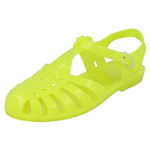 Ladies Classic Buckled Jelly Shoes Yellow SQSJJLHu