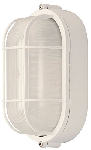 Weatherproof Bulkhead Exterior Light For Wet Locations, White