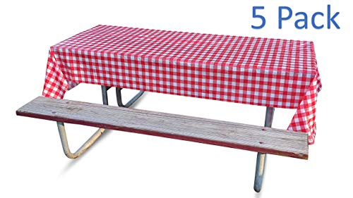 Disposable Tablecloths - Plastic Tablecovers for Picnics or Parties with Checkered Red and White Design (5 Pack)