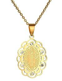 Kamellusone Men's Fashion Religion Titanium Steel Crystal Round Dog Tag Pendant 22inches Chain Necklace