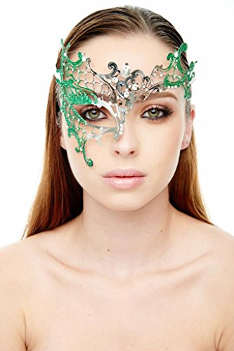 KAYSO INC Signature Silver Phantom Of The Opera Venetian Laser Cut Masquerade Mask w/ Glitters, Green