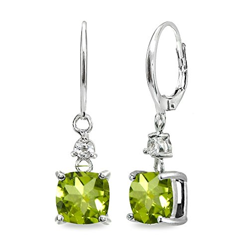 Sterling Silver Peridot & White Topaz 7mm Cushion-cut Dangle Leverback Earrings