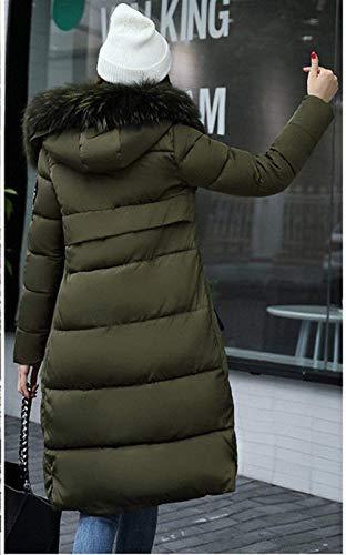 Hipster Manica Piumino Cappuccio Calda Slim Chic Tempo Lunga Cute Donna Outerwear Libero Vintage Con Invernali Imbottitura Cappotto Armygreen Elegante Fit Puro Giacca Autunno Colore Trapuntato q0nfZn6U